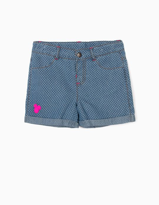 Denim Shorts for Girls, 'Minnie Mouse', Blue