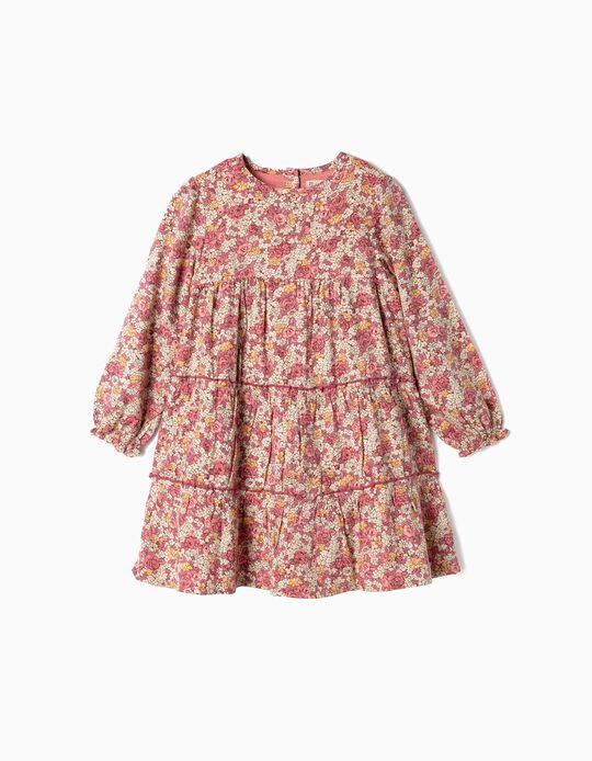 Vestido Florido com Folhos para Menina, Rosa