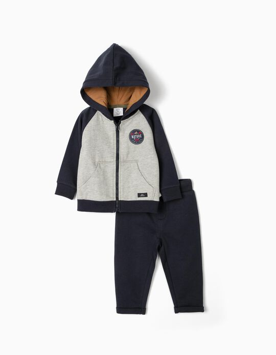 Tracksuit for Baby Boys 'Nature Life', Dark Blue/Grey