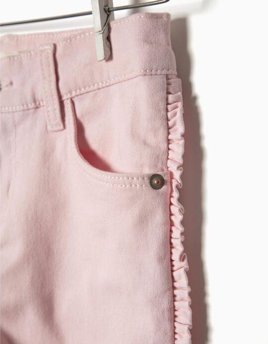 Calças sarja com folhos