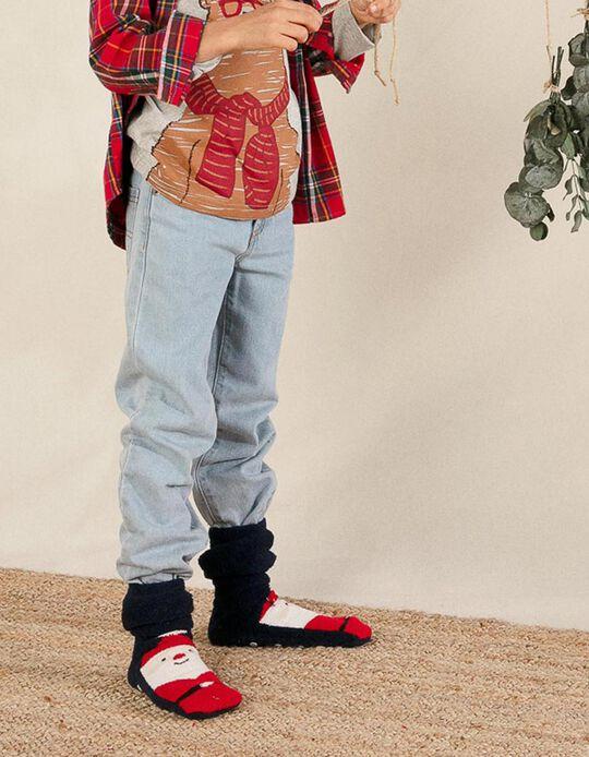 2-Pack Non-Slip Socks for Kids 'Christmas', Green/Blue