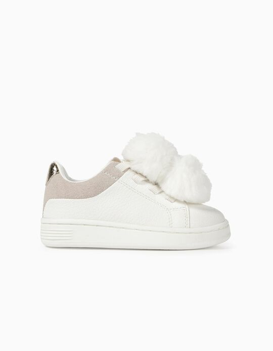 Trainers for Baby Girls with Pompons, White