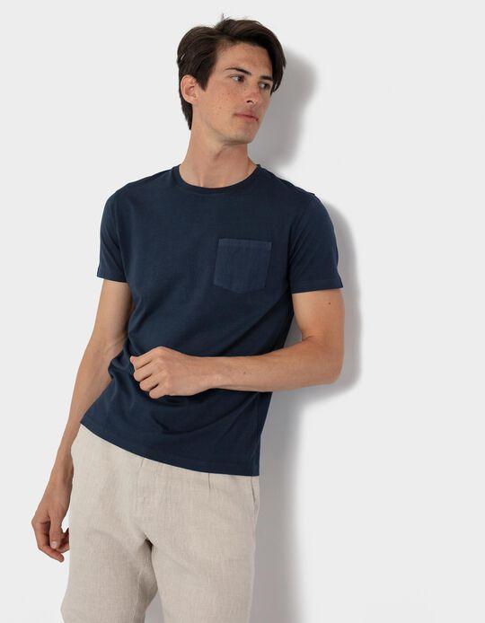 T-shirt with Pocket for Men, Dark Blue