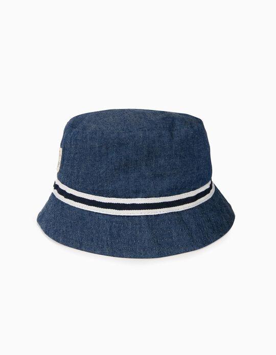 Chapéu para Menino com Faixa em Contraste,  Azul