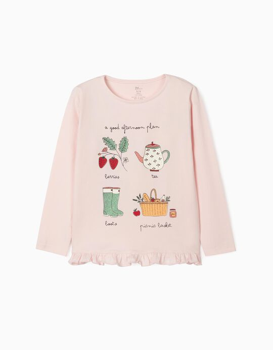 Long Sleeve Top in Organic Cotton for Girls, 'Afternoon', Pink
