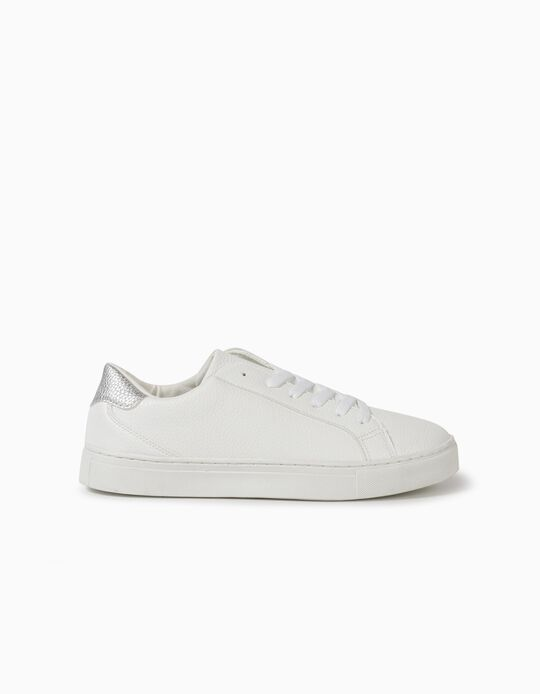 Synthetic Leather Trainers, White