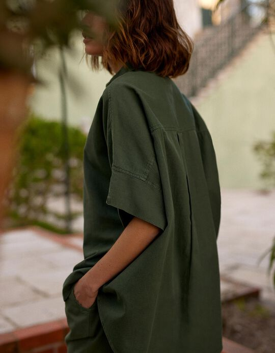 Oversized Shirt, Cotton & Linen, for Women