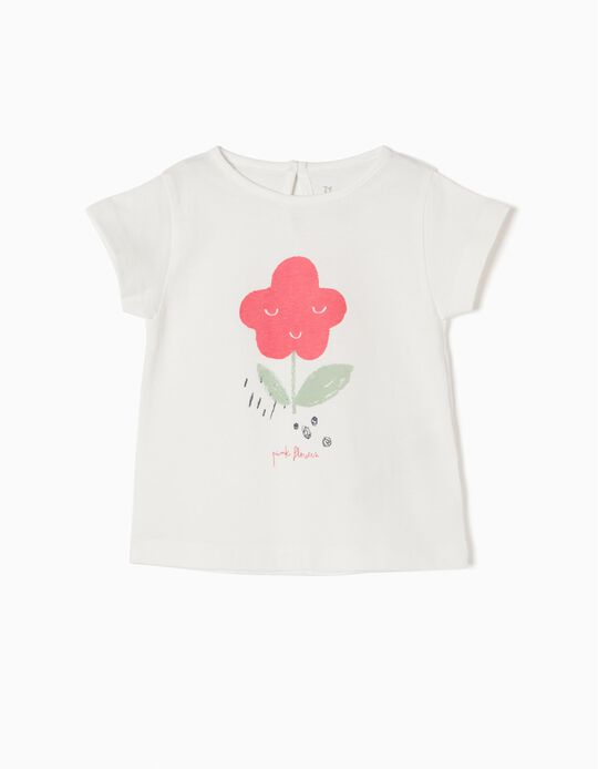 White T-Shirt, Pink Flowers