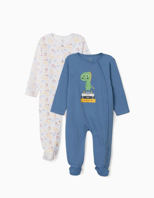 2 Sleepsuits for Baby Boys, 'Books', Blue/White