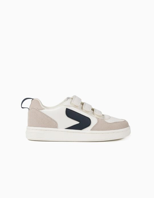 Trainers for Boys, 'ZY', White/Dark Blue
