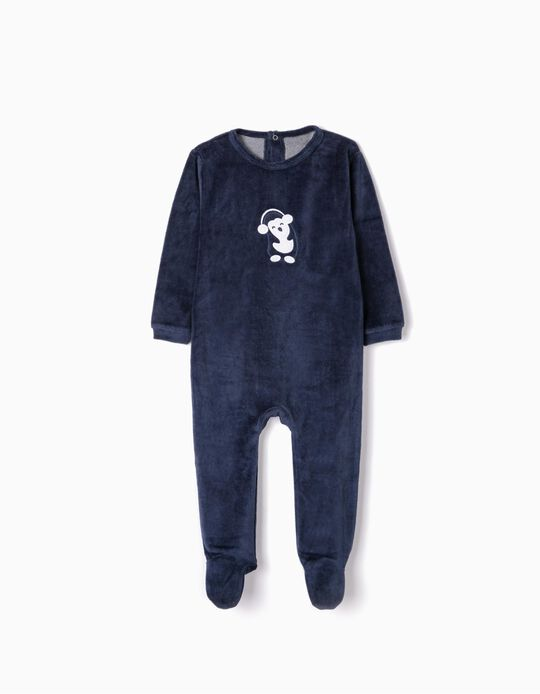 Velvet Sleepsuit for Babies 'Cute Penguin', Dark Blue