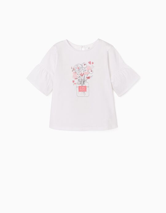 T-shirt with Embroideries for Girls, 'Le Pleur d'Amour', White