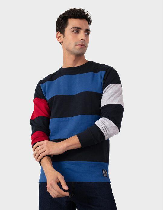 Long Sleeve Colourblock Top, for Men