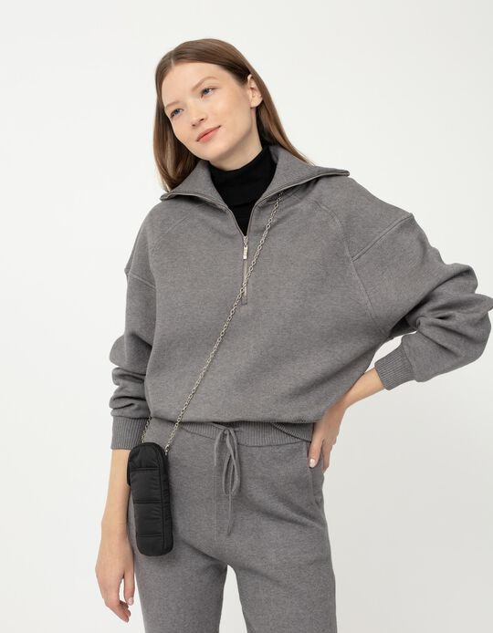 Sweatshirt com Fecho, Mulher, Cinza