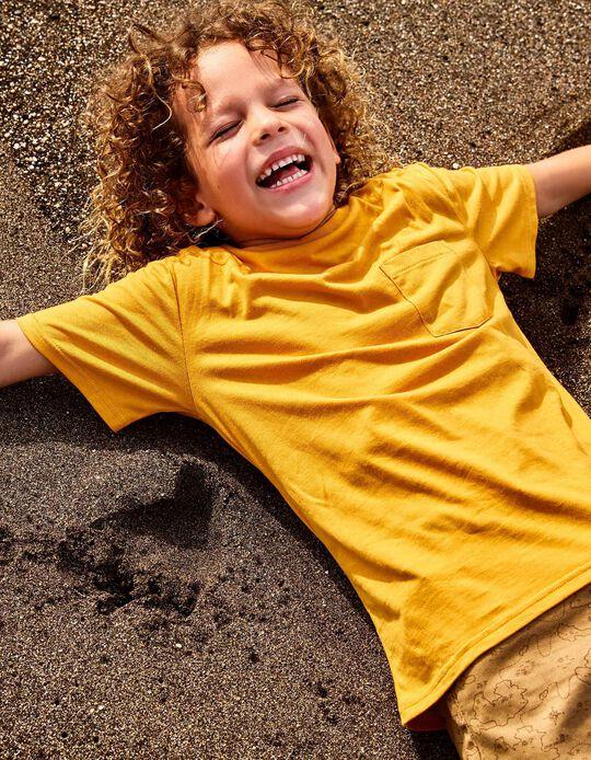 T-shirt com Bolso para Menino em Algodão Orgânico, Amarelo