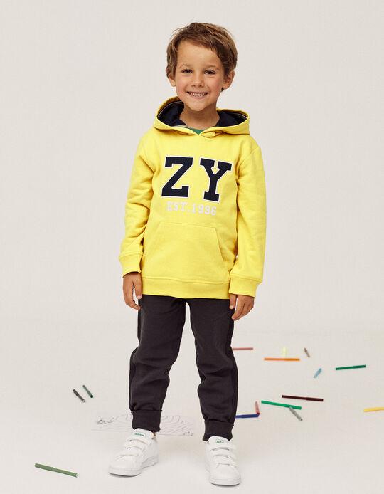 Hooded Sweatshirt for Boys, 'ZY 1996', Yellow