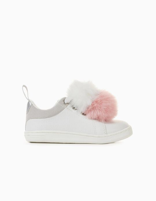 Trainers with Pompoms for Baby Girls '96 Sneaker', White