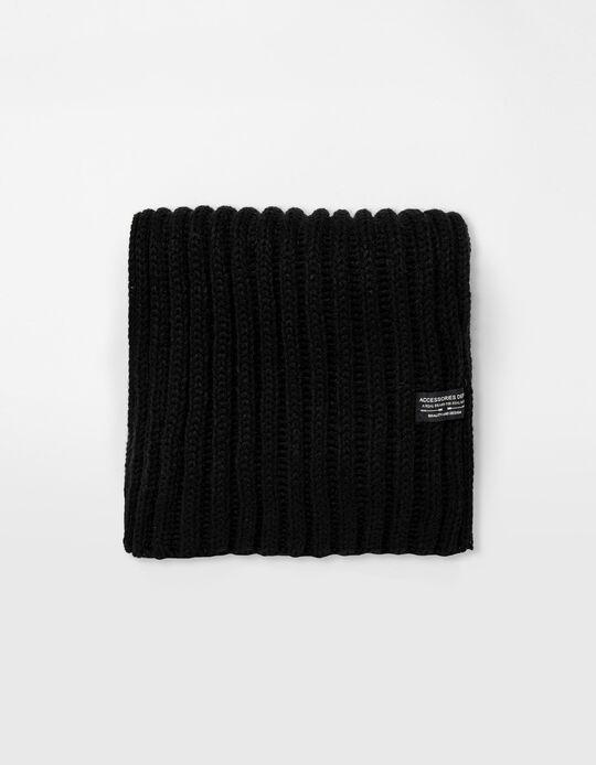 Rib Knit Scarf, Men, Black
