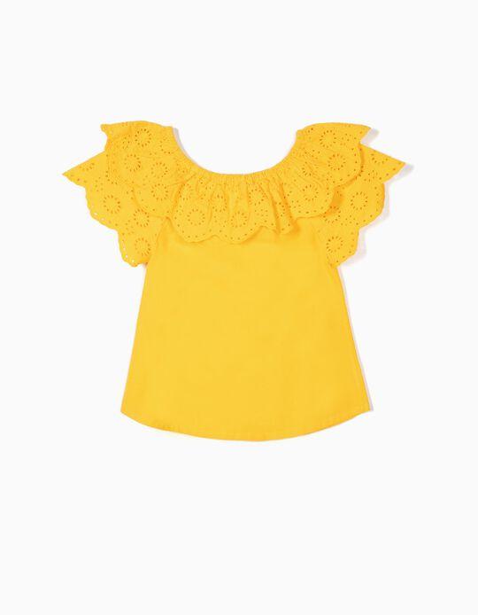 Blusa para Menina com Bordado Inglês, Amarelo