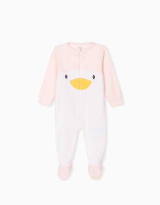 Zipped Polar Fleece Sleepsuit, Babies, Pink