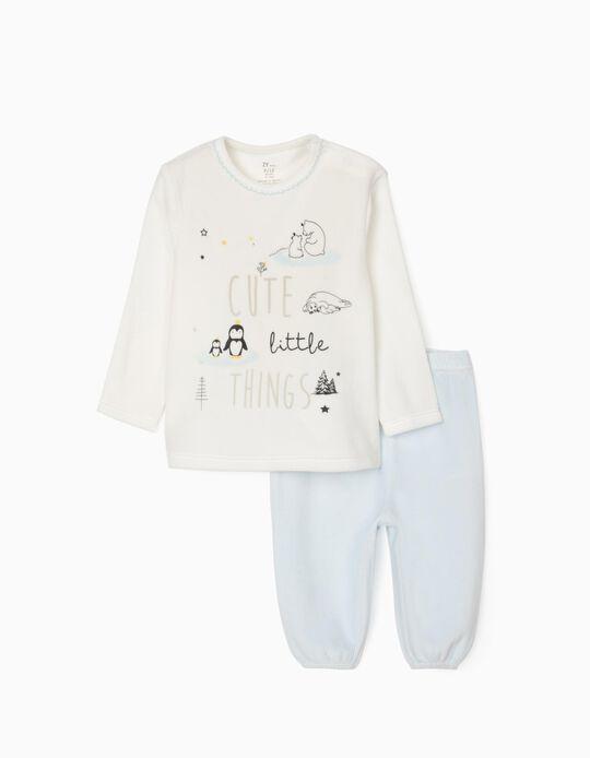 Velvet Pyjamas for Babies  'Cute Little Things', White/Blue