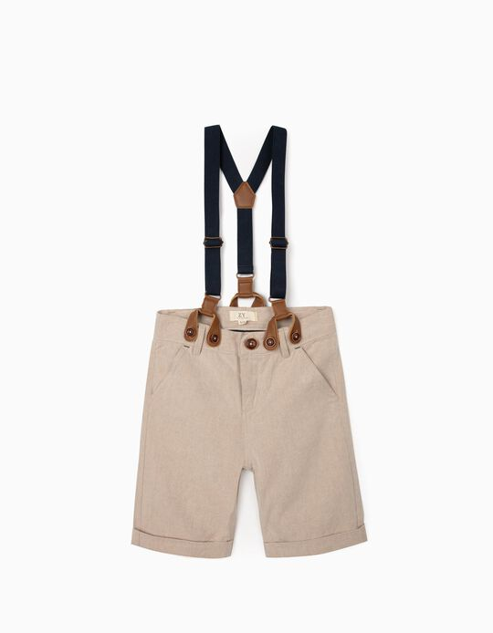 Shorts with Braces, Beige