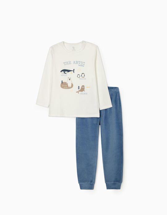 Pijama Veludo para Menino 'The Artic', Branco/Azul