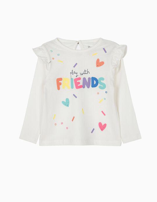 T-shirt de Manga Comprida para Bebé Menina 'Friends', Branco