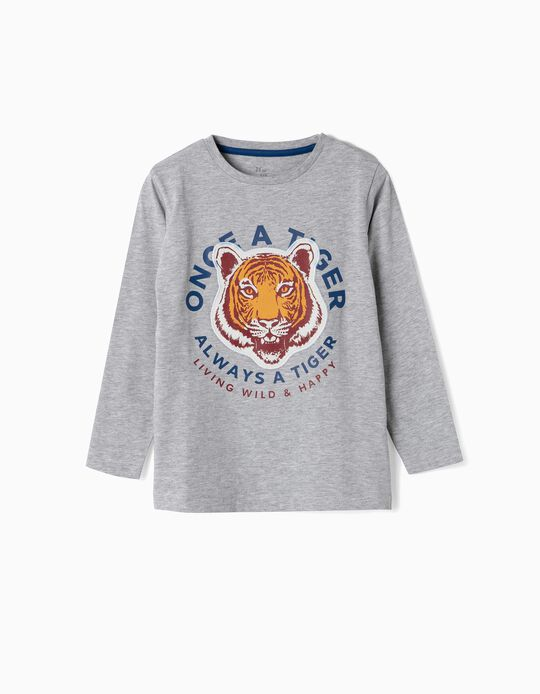 Long-sleeve Top for Boys 'Tiger', Grey