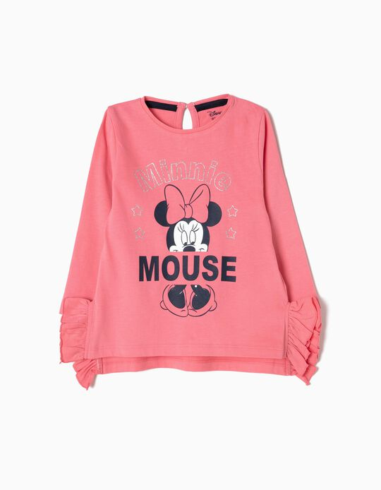 T-shirt Manga Comprida Rosa Minnie