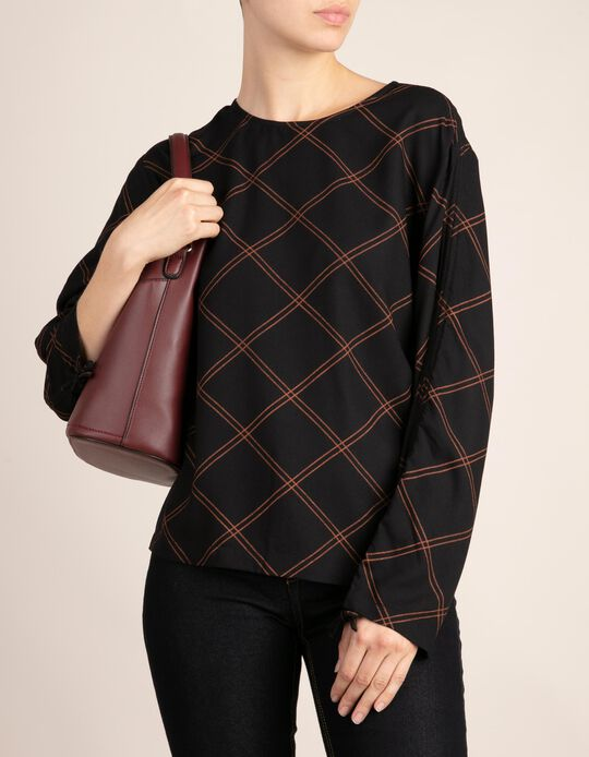 Blouse with Contrasting Diamond Print