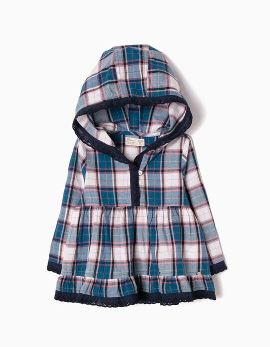 Checked Blouse with Hood