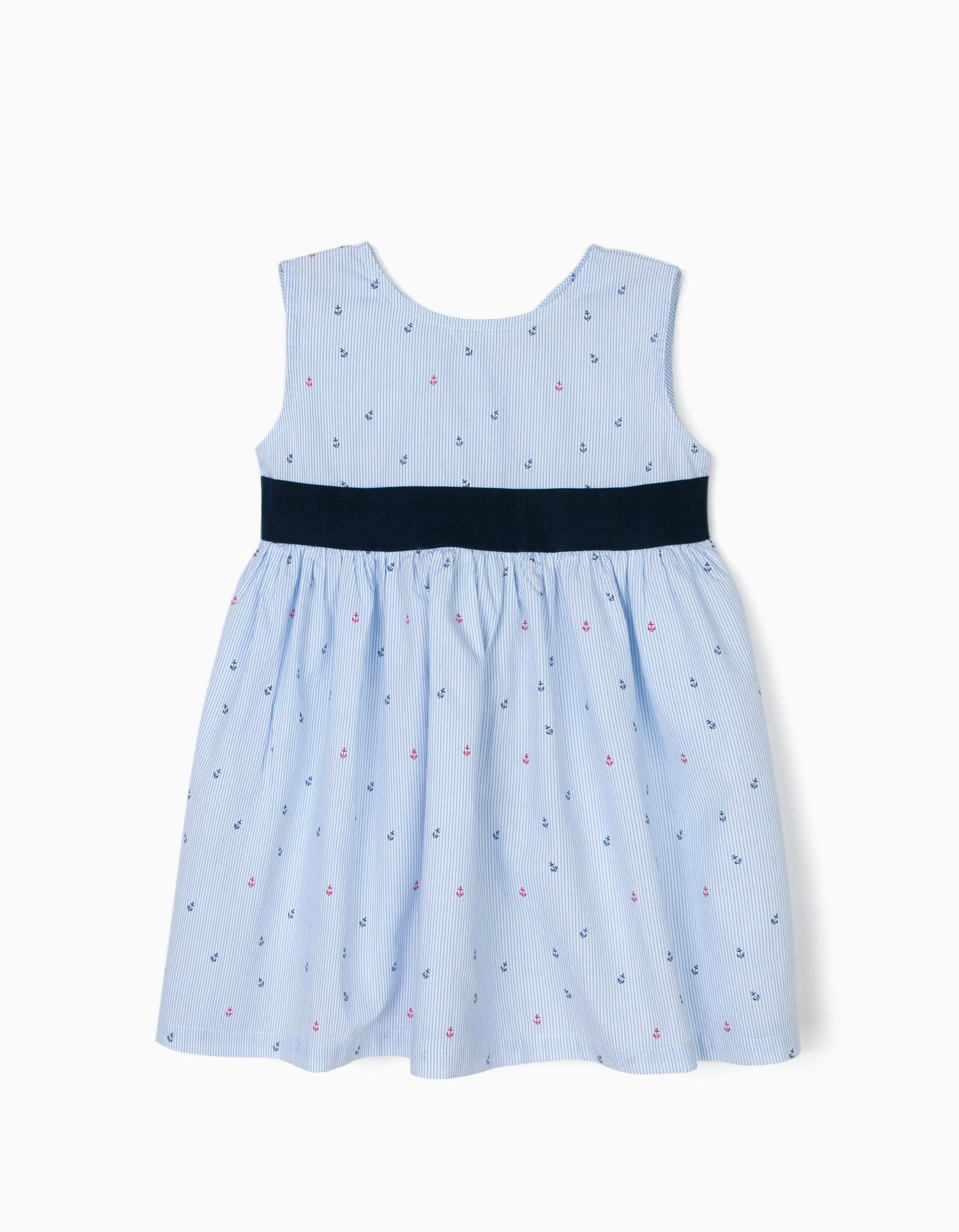 Vestido para Menina 'B&S' Riscas, Azul