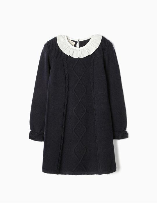 Knitted Dress for Girls, Dark Blue