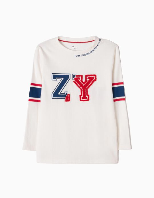 Long-sleeve Top for Boys 'ZY', White