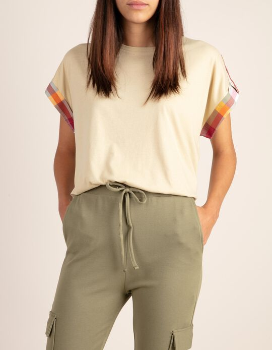 T-shirt with tartan detail on the sleeve