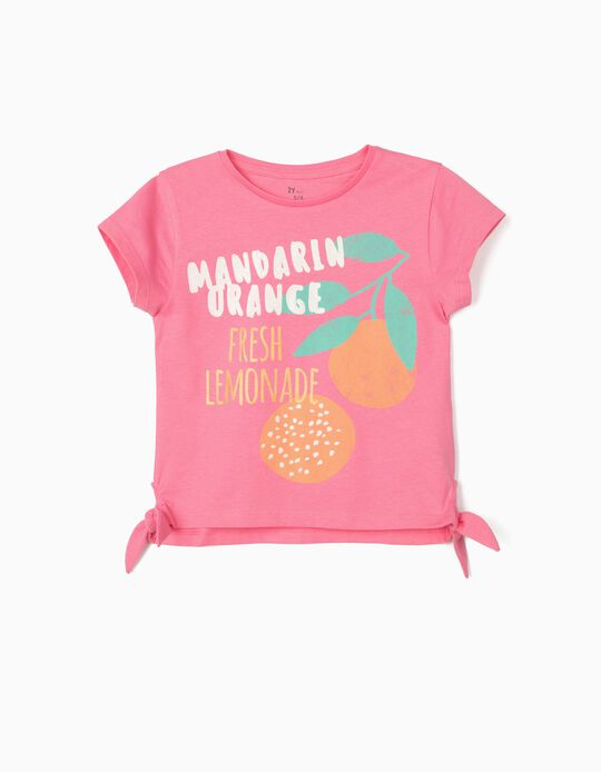 T-shirt for Girls, 'Mandarin Orange', Pink