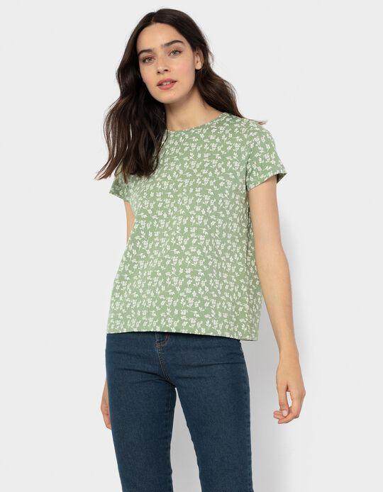 Floral Print T-shirt, Green