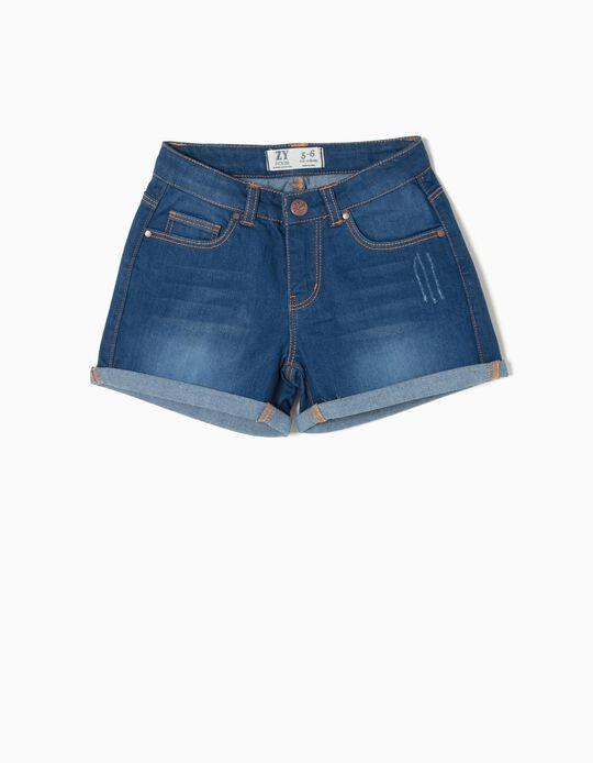 Denim Shorts for Girls, Blue