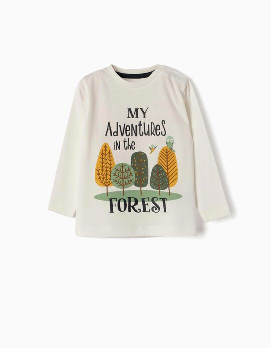 Long-sleeve Top for Baby Boys 'My Adventures', White