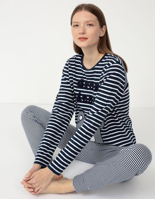 Pijama às Riscas, Mulher, Cinza