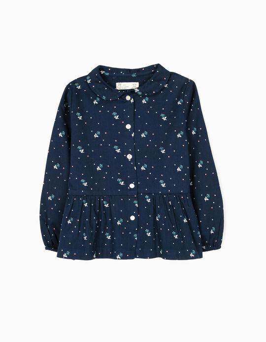 Blusa de Sarja Flores Azul