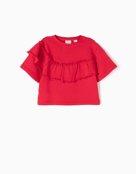 Red Short Sweatshirt with Ruffle
