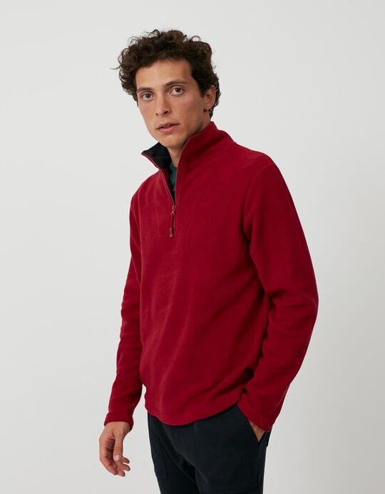 Polar Fleece Sweatshirt with Zip, Men, Red
