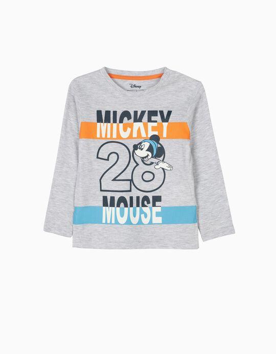 T-shirt de Manga Comprida Mickey Mouse 28 Cinza