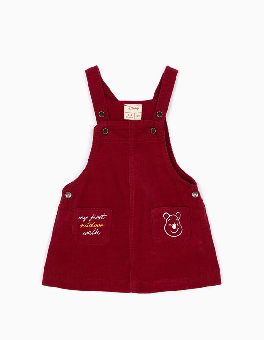 Burgundy Pinafore Dress, Winnie the Pooh