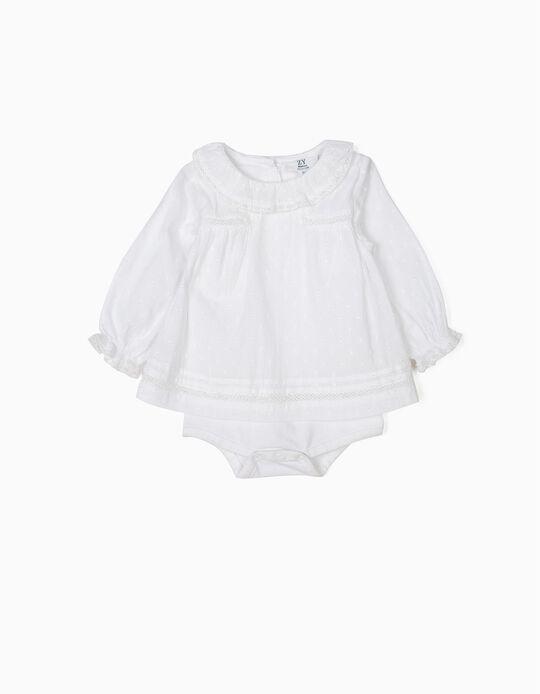 Body Blusa para Recém-Nascida, Branco