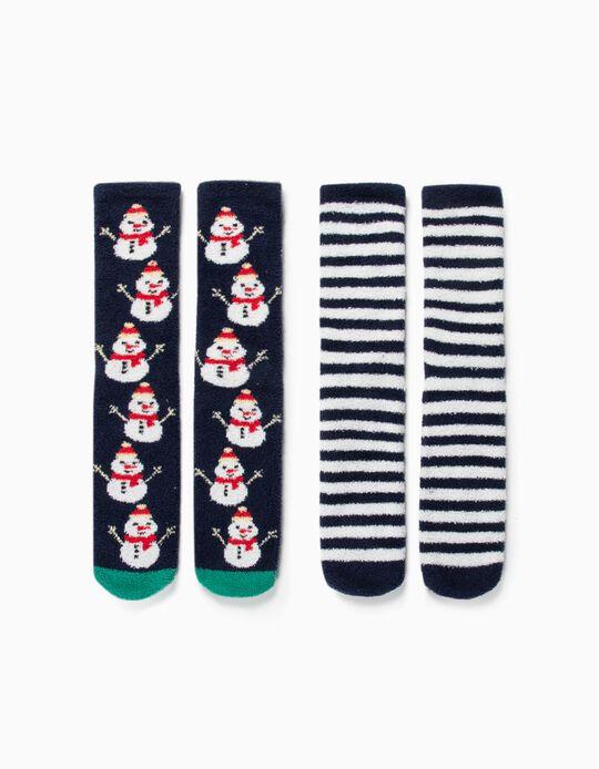 2-Pack Non-slip Socks for Kids 'Christmas', Blue/White