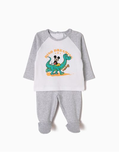 Pijama Manga Comprida e Calças com Pés Mickey & Dino