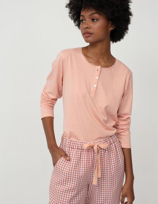 Long Sleeve Pyjama Top for Women, Pink